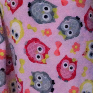 Pink Owl Fleece Fabric