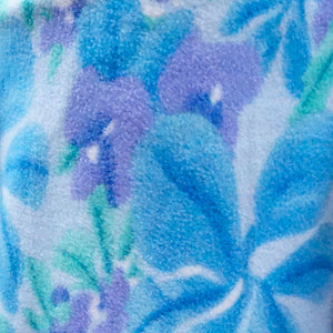 Blue and Lavender Flower Fleece Fabric