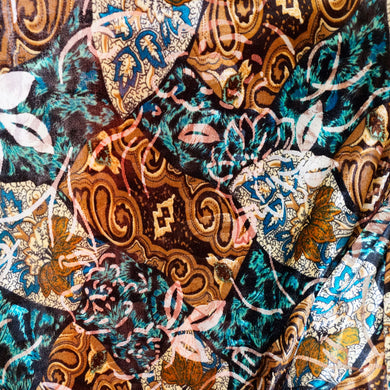 Tan and Turqouise Floral Paisley Burnout Velvet Fabric