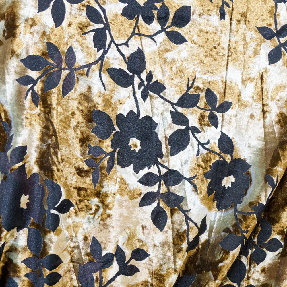 Black Rose on Gold and Cream Burnout Velvet Fabric