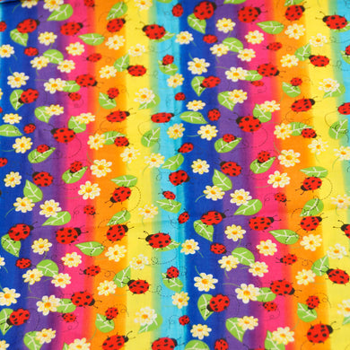 Ladybug Rainbow Background 100% Cotton Fabric-Reduced Price