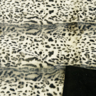 Snow Leopard Velboa Fur with Black Suede Backing-Reduced Price