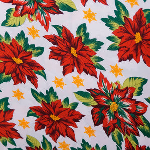 Pointsettia on White Polyester Poplin Fabric