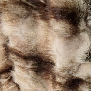 Brown Striped Rabbit Long Pile Faux Fur Fabric