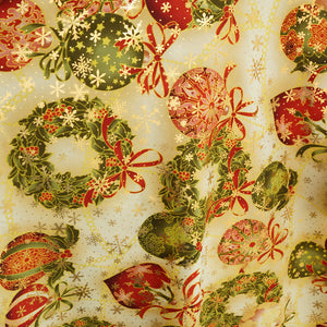 Wreaths and Bulbs Sparkle Polyester Poplin Fabric