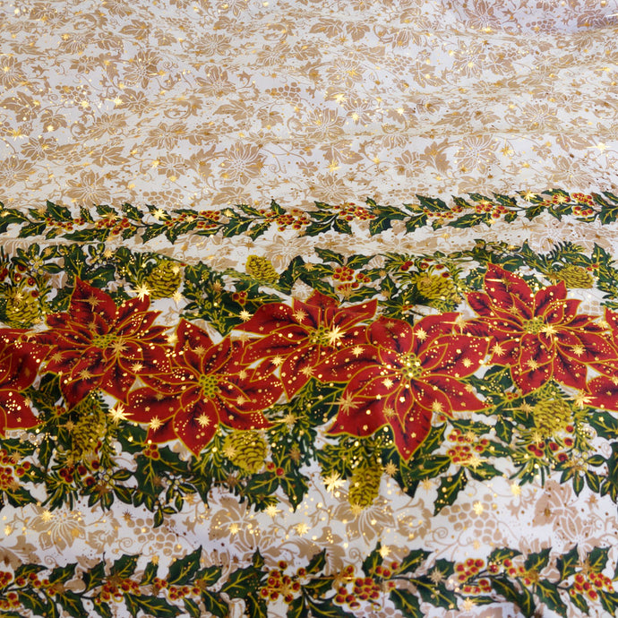Holly Berry Sparkle with Poinsettias Polyester Poplin Christmas Fabric