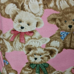 Brown and Tan Teddy Bear on Pink Fleece Fabric