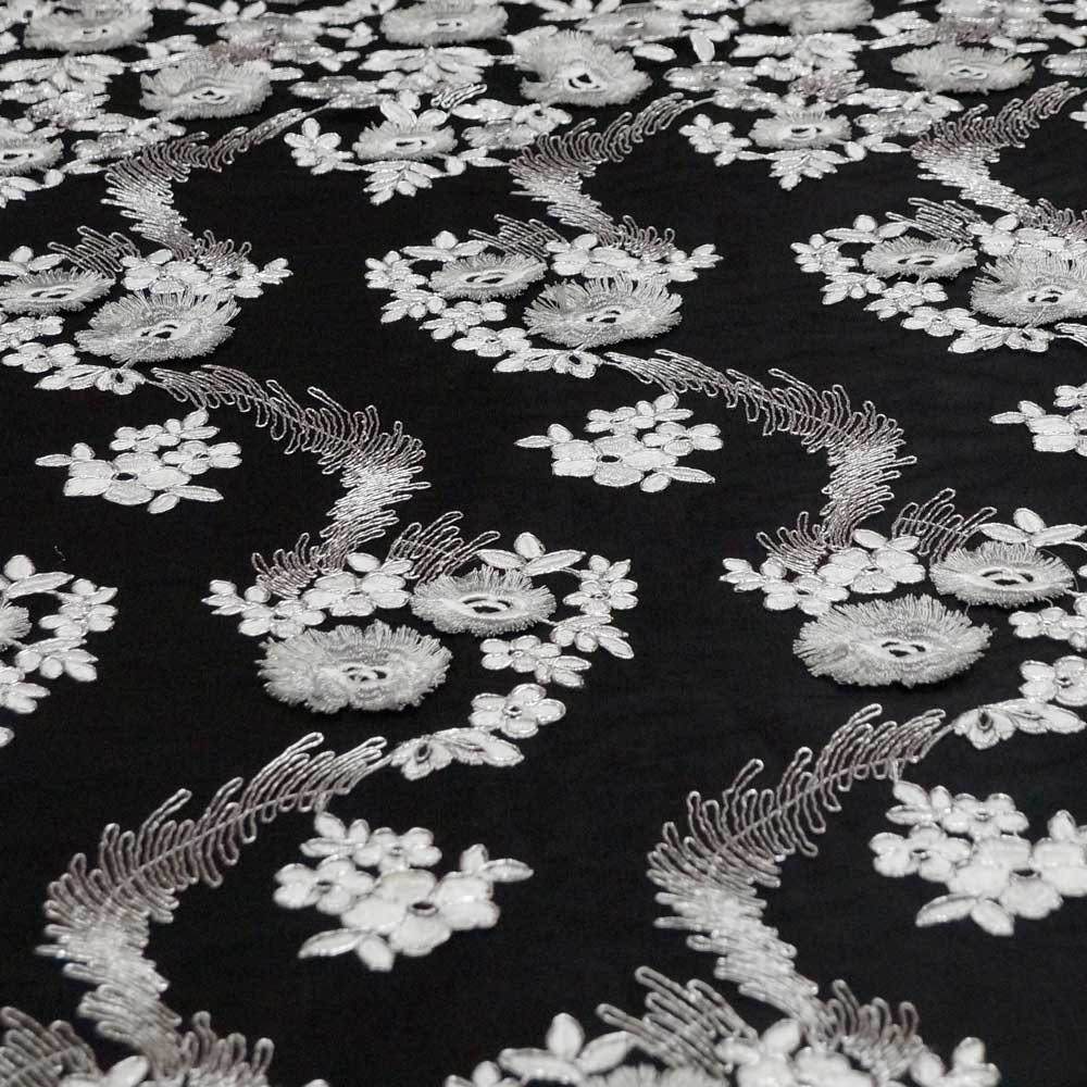 Silver - Divinity Collection Embroidered Lace