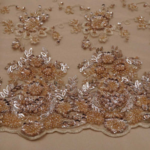 Floral Copper Beaded Lace