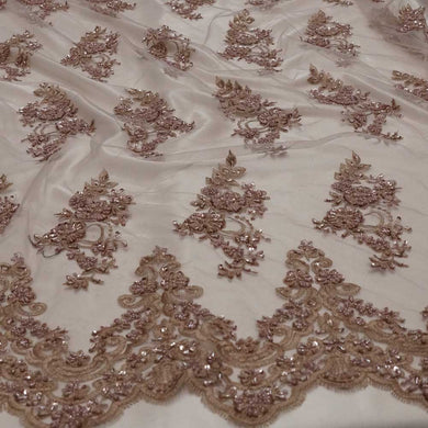 Dusty Rose Mauve Beaded Lace
