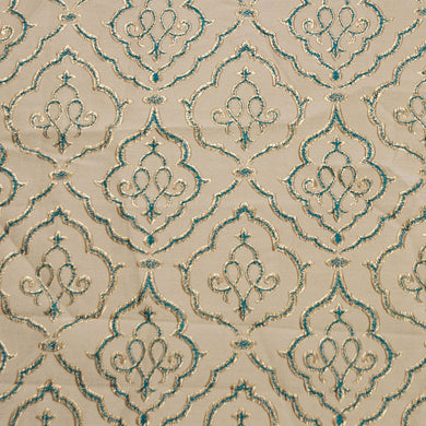 Gold and Turquoise - Sparkling Lattice Collection Upholstery Fabric