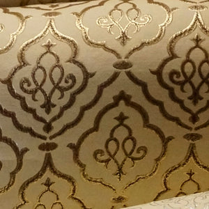 Gold and Brown - Sparkling Lattice Collection Upholstery Fabric