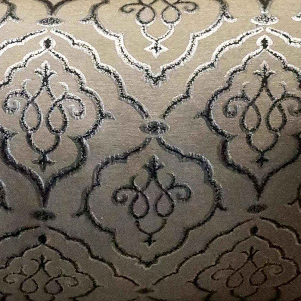 Silver and Black - Sparkling Lattice Collection Upholstery Fabric