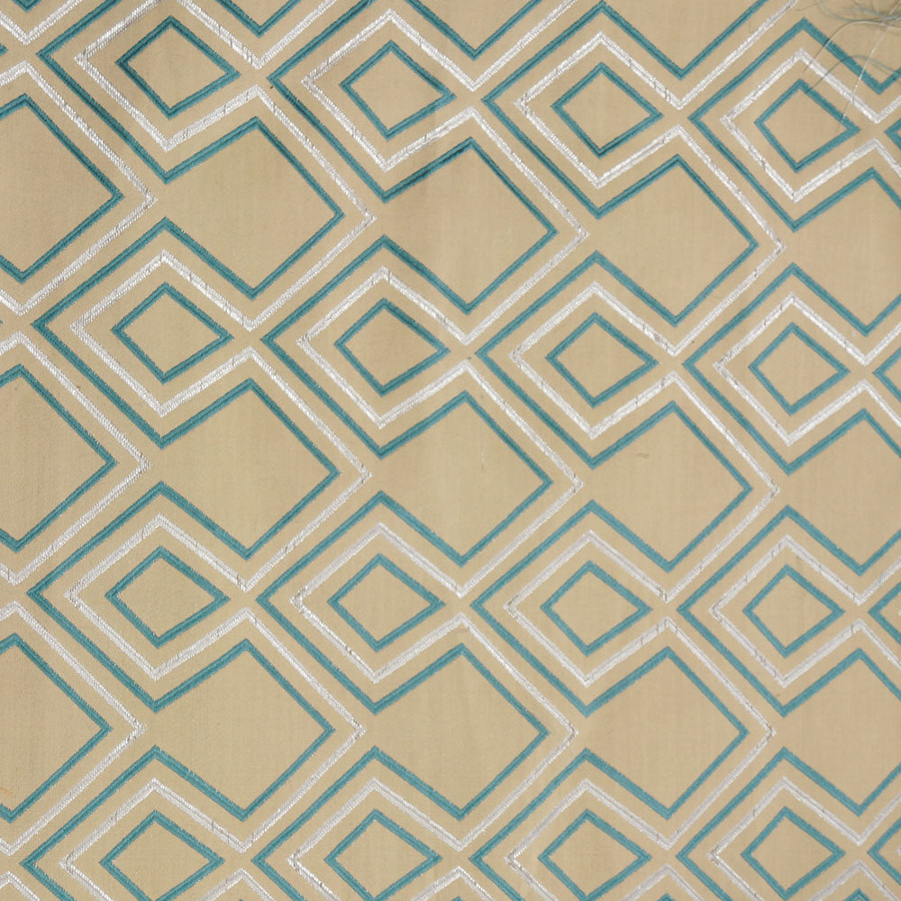 Turquoise and Silver - Aztec Collection Upholstery Fabric