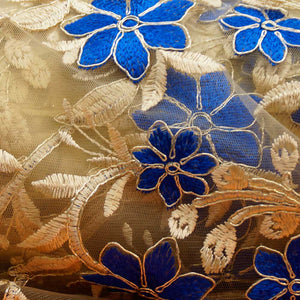 Royal Blue on Gold Isabelle Lace Collection