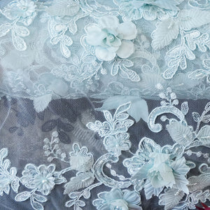 Baby Blue Beaded Laces - Mariposa Lace Collection