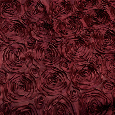 Burgundy Rosette Satin Fabric