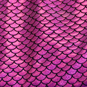 Fuchsia Scales Holographic Spandex Fabric