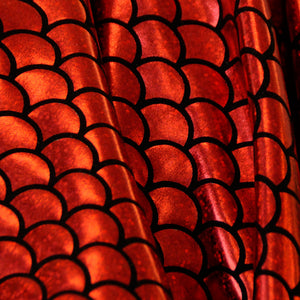 Red Scales Holographic Spandex Fabric