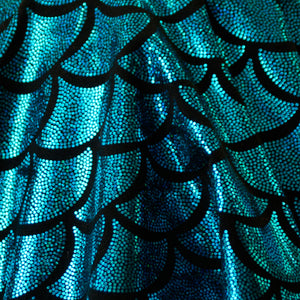 Turqouise Scales Holographic Spandex Fabric
