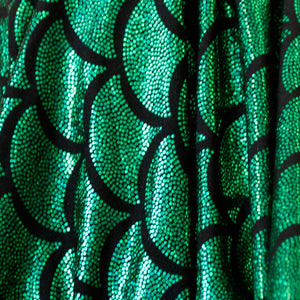 Green Scales Holographic Spandex Fabric