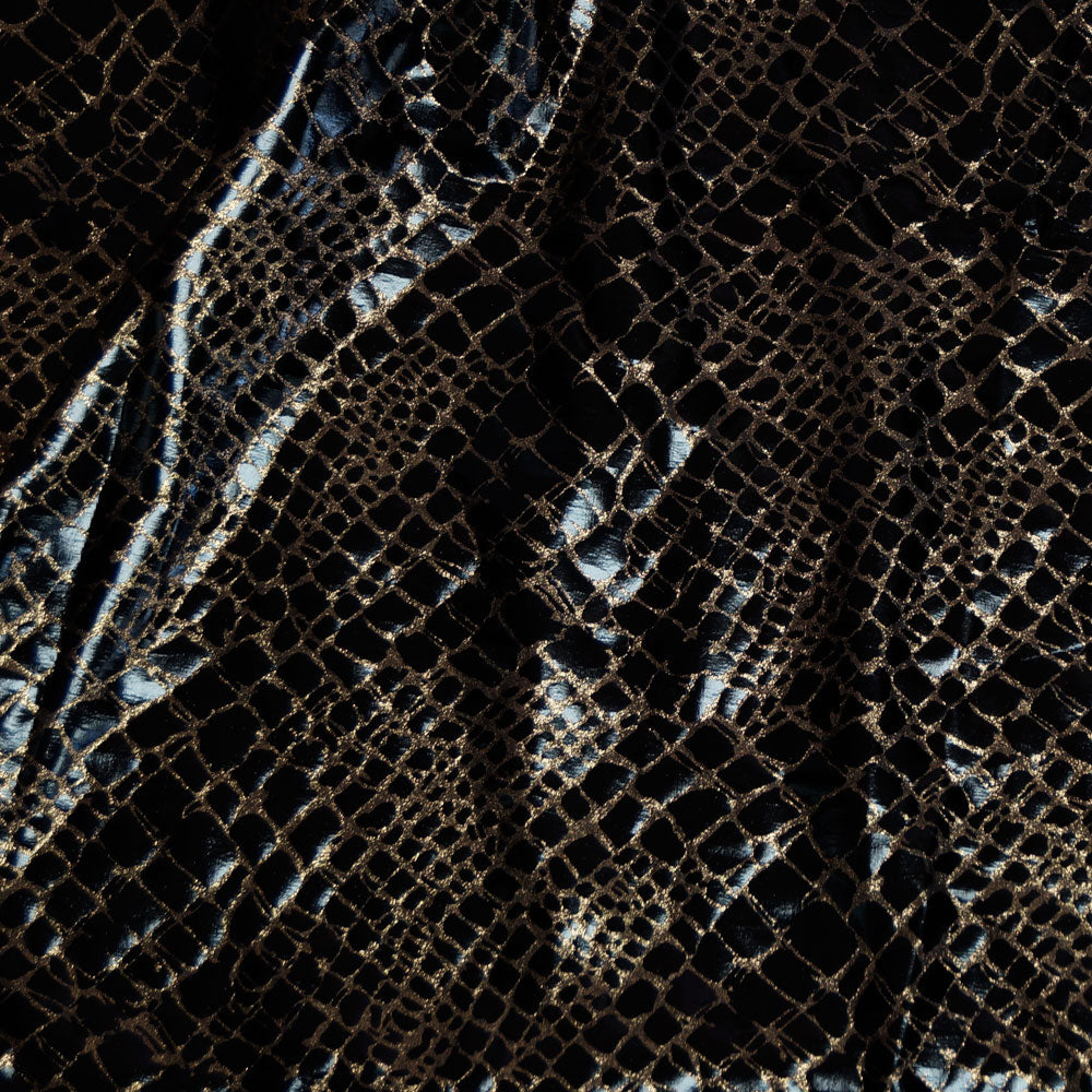 Reptile Black and Gold Stretch Vinyl Fabric