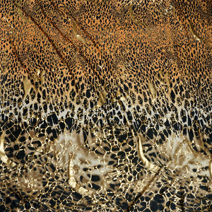 Orange Brown Wild Cat Metallic Print Stretch Fabric