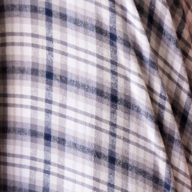 Cream and Tan with Navy Plaid Flannel 100% Cotton Fabric