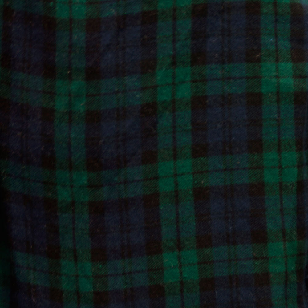 Navy Blue and Green Plaid Flannel 100% Cotton Fabric