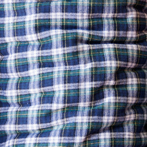 Blue and Green with White Plaid Flannel 100% Cotton Fabric