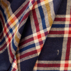 Navy with Red and Yellow Striped Plaid Flannel 100% Cotton Fabric