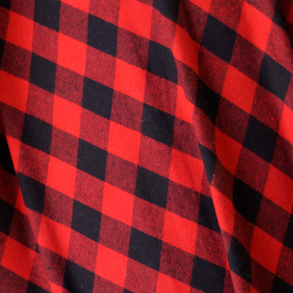 Red and Black - Small Square Plaid Flannel 100% Cotton Fabric