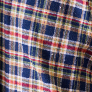 Blue, Red and Yellow Plaid Flannel 100% Cotton Fabric