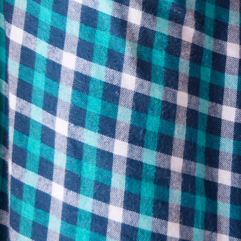 Turquoise and Navy Plaid Flannel 100% Cotton Fabric