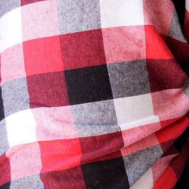 Red, White and Black - Large Square Plaid Flannel 100% Cotton Fabric