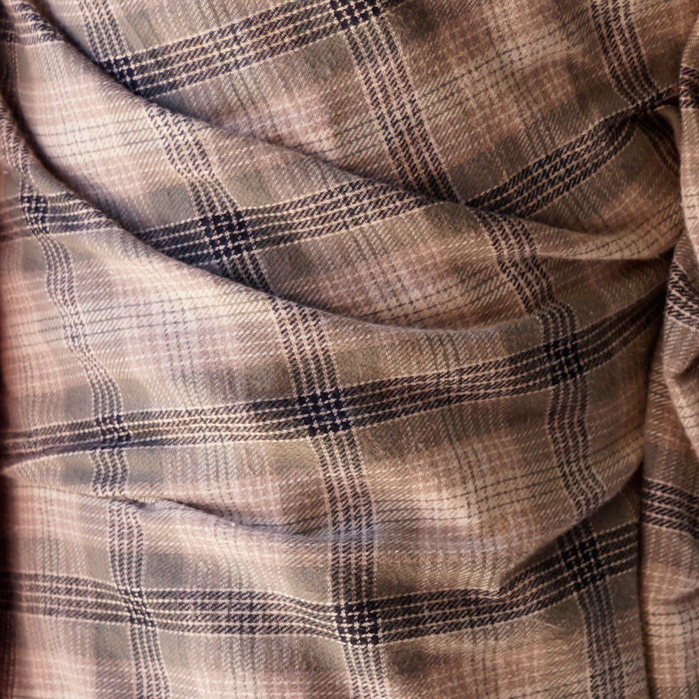 Brown Plaid Flannel 100% Cotton Fabric