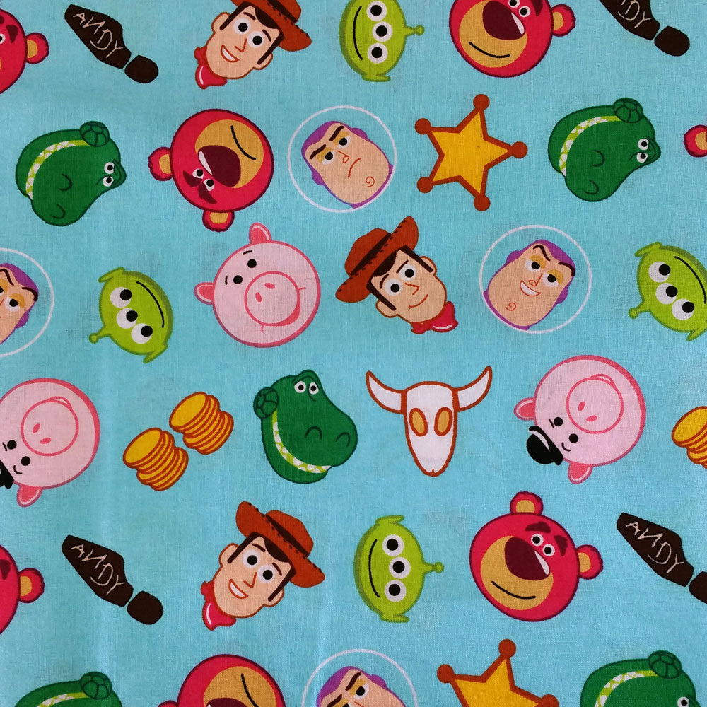 Disney's Toy Story on Sky Blue 100% Cotton Fabric