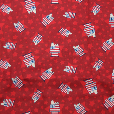 Licensed Snoopy Patriotic House Print 100% Cotton Fabric