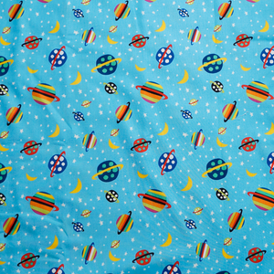 Alien Planets Blue 100% Cotton Fabric