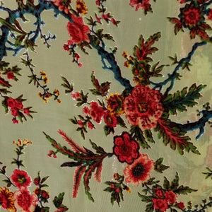Yellow with Red Roses Silk Burnout Velvet Fabric