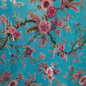 Turquoise with Pink Roses Silk Velvet Burnout Fabric