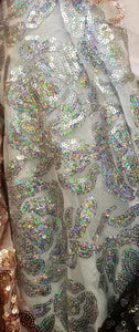 Floral Mini Glitz Sequin Fabric - Holographic Silver