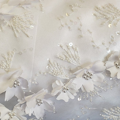 White Flowers 3D Beaded Lasercut Lace Fabric