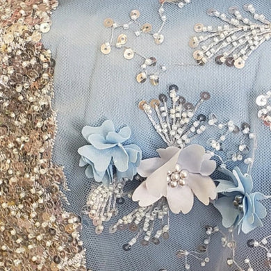 Blue  Flowers 3D Beaded Lasercut Lace Fabric