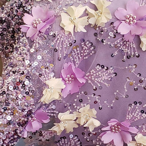 Lilac Flowers 3D Beaded Lasercut Lace Fabric