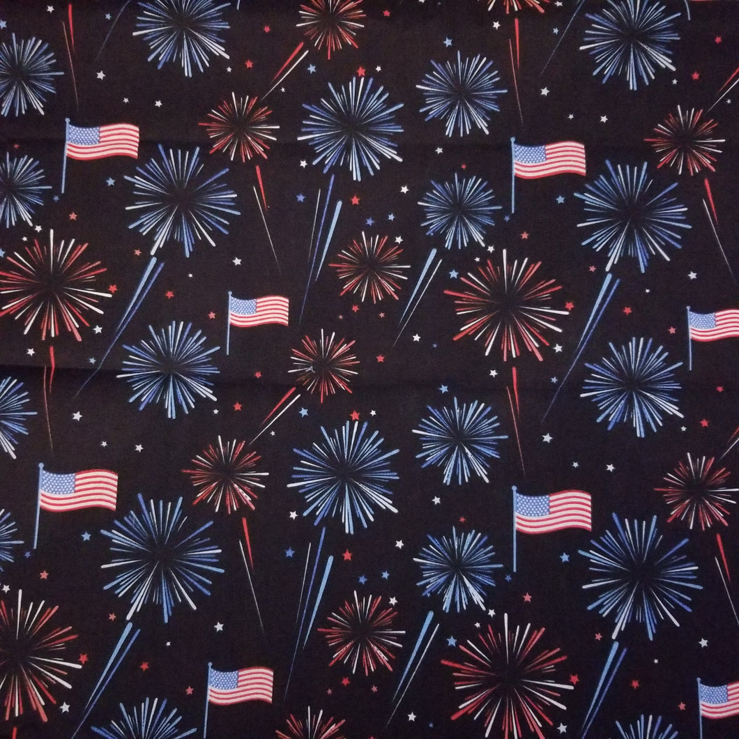 American Fireworks Patriotic Print 100% Cotton Fabric