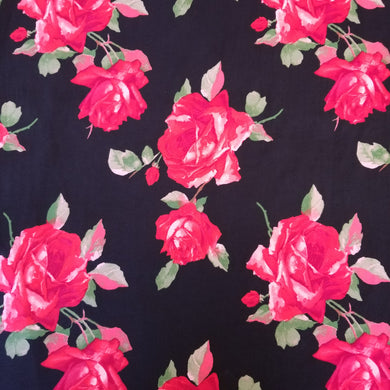 Double Brushed Black Rose Poly Knit Fabric