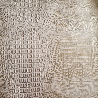 Duotone Cream and Metallic Gold Crocodile Vinyl Fabric