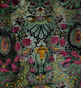 Sage/Fuchsia Burnout Velvet Fabric - 100% silk
