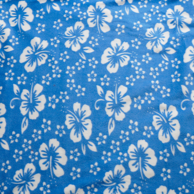 Blue and White Hibiscus Anti-pill Fleece Fabric